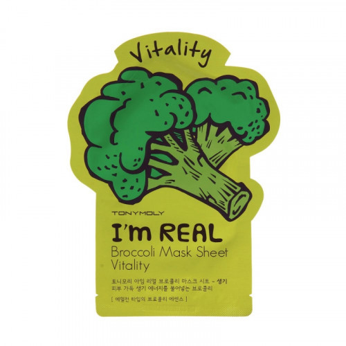 Tony moly маска для лица с экстрактом брокколи i'm real broccoli mask sheet vitality