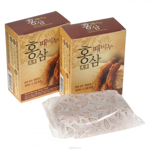 Mukunghwa Мыло-скраб красный женьшень Miso Red Ginseng Scrub Soap