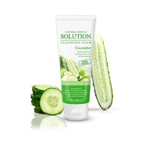 Deoproce Пенка для умывания с огурцом Natural Perfect Solution Cleansing Foam Green Edition Cucumber