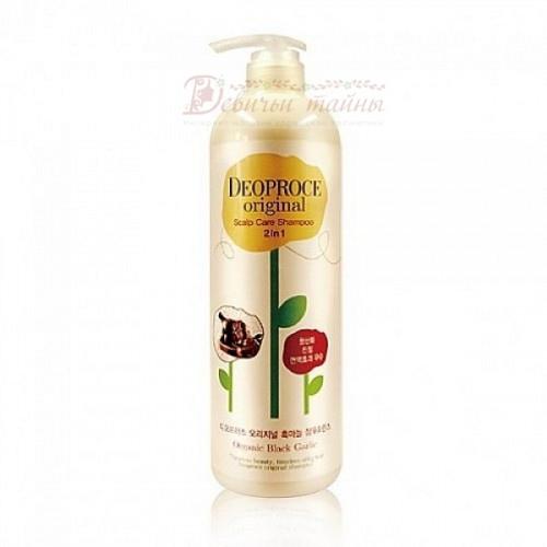 Deoproce шампунь-бальзам от выпадения волос с чёрным чесноком Original Scalp Care 2 In 1 Shampoo Black Garlic