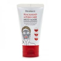Deoproce маска грязевая сужающая поры blackhead & pore care mud mask