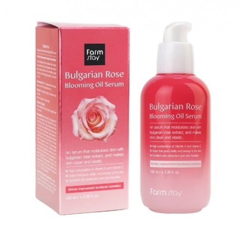 FarmStay Сыворотка для лица с экстрактом болгарской розы Bulgarian Rose Blooming Oil Serum