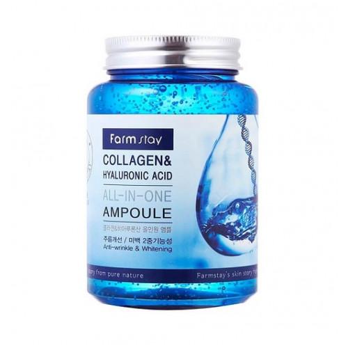 FarmStay Сыворотка для лица с коллагеном и гиалуроновой кислотой Collagen & Hyaluronic Acid All-In One Ampoule