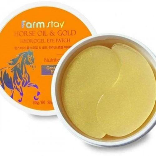 Farmstay Патчи для области вокруг глаз с золотом и конским жиром Horse Oil & Gold Hydrogel Eye Patch