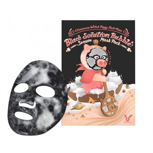 Elizavecca Маска для лица кислородная Witch Piggy Hell Pore Black Solution Bubble Serum Mask Pack